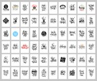 Το σύνολο 60 δίνει τις γράφοντας αφίσες, τα αποσπάσματα θετικών και διακοπών Στοκ Εικόνες