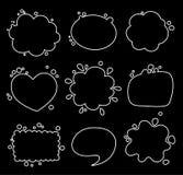 Το σύνολο διαφορετικών μορφών της σκέψης βράζει, κύκλος, oval, τετράγωνο απεικόνιση αποθεμάτων