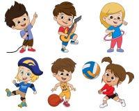 Το σύνολο δραστηριότητας παιδιών, παιδί τραγουδά ένα τραγούδι, που παίζει μια κιθάρα, παίζοντας τη HU διανυσματική απεικόνιση