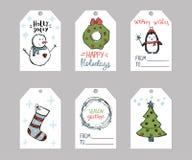 Το σύνολο δώρου Χριστουγέννων έξι κολλά τα πρότυπα διανυσματική απεικόνιση