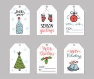 Το σύνολο δώρου Χριστουγέννων έξι κολλά τα πρότυπα απεικόνιση αποθεμάτων