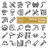 Το σύνολο εικονιδίων γραμμών εργαλείων, συλλογή συμβόλων επισκευής, διανυσματικά σκίτσα, απεικονίσεις λογότυπων, όργανο υπογράφει διανυσματική απεικόνιση
