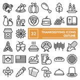 Το σύνολο εικονιδίων γραμμών ημέρας των ευχαριστιών, συλλογή συμβόλων εορτασμού, διανυσματικά σκίτσα, απεικονίσεις λογότυπων, τρό ελεύθερη απεικόνιση δικαιώματος