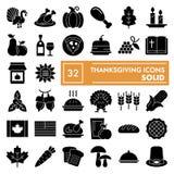 Το σύνολο εικονιδίων ημέρας των ευχαριστιών glyph, συλλογή συμβόλων εορτασμού, διανυσματικά σκίτσα, απεικονίσεις λογότυπων, τρόφι ελεύθερη απεικόνιση δικαιώματος