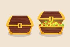 Το σύνολο εικονιδίων με τα κινούμενα σχέδια έκλεισε και άνοιξε το ξύλινο στήθος πειρατών διανυσματική απεικόνιση