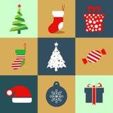 Το σύνολο εικονιδίων Χριστουγέννων τα εικονίδια Στοκ Φωτογραφίες