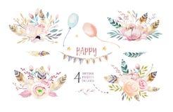 Το σύνολο εκλεκτής ποιότητας ανθοδέσμης boho, τα στοιχεία watercolor των λουλουδιών, ο κήπος και τα άγρια λουλούδια, φύλλα, διακλ ελεύθερη απεικόνιση δικαιώματος