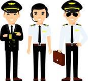 Το σύνολο επαγγελμάτων αεροπορίας ανθρώπων, πειραματικός, καπετάνιου και προσωπικού αερογραμμών σε διαφορετικό θέτει απεικόνιση αποθεμάτων