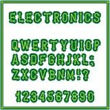 Το σύνολο επιστολών του ύφους του τυπωμένου πίνακα κυκλωμάτων αλφάβητο font Ηλεκτρονική βιομηχανική και εσωτερική ελεύθερη απεικόνιση δικαιώματος