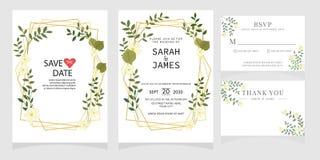 Το σύνολο κάρτας με το λουλούδι αυξήθηκε, φύλλα Η Floral αφίσα, προσκαλεί Έννοια γαμήλιων διακοσμήσεων Πρότυπο καρτών γαμήλιας πρ στοκ εικόνα με δικαίωμα ελεύθερης χρήσης