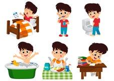 Το σύνολο καθημερινού χαριτωμένου αγοριού, αγόρι ξυπνήστε, που βουρτσίζει τα δόντια, παιδί κατουρεί, λήψη ελεύθερη απεικόνιση δικαιώματος