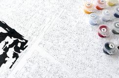 Το σύνολο και ο καμβάς χρώματος ζωγραφικής αριθμού είναι έτοιμοι να χρησιμοποιήσουν Στοκ εικόνα με δικαίωμα ελεύθερης χρήσης
