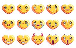 Το σύνολο καρδιάς 15 αρνητικής συγκινήσεων διαμόρφωσε το emoji τέχνης εικονοκυττάρου στο χρυσό χρώμα απεικόνιση αποθεμάτων
