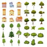 Το σύνολο κτηρίων, οι Μπους και τα δέντρα των στοιχείων τοπίων για τον κήπο σχεδιάζουν, σταθμεύουν, παιχνίδια και εφαρμογές διάνυ διανυσματική απεικόνιση
