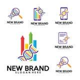 Το σύνολο λογότυπου DNA, πρότυπο σχεδίου λογότυπων περιτυλίξεων της βιολογίας, Stats, χρηματοδότηση, σημείωση, τηλέφωνο, βρίσκει  διανυσματική απεικόνιση