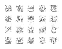 Το σύνολο μαγικού παρουσιάζει εικονίδια γραμμών Καπέλο, θαυματοποιός, μάγος, τσίρκο και περισσότεροι μαγισσών διανυσματική απεικόνιση