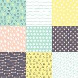 Το σύνολο με 9 δίνει συμένος doodle λαμπρά χρωματίζει τα άνευ ραφής σχέδια Στοκ Εικόνες