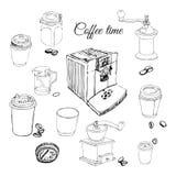 Το σύνολο με το διαφορετικό καφέ αντιτίθεται: φλυτζάνια, μύλοι καφέ, κατασκευαστές καφέ, φασόλια καφέ απεικόνιση αποθεμάτων