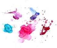 Το σύνολο μπλε, αυξήθηκε, πορφυροί, κόκκινοι λεκέδες watercolor σε ένα άσπρο υπόβαθρο απομονωμένος Στοκ Φωτογραφίες