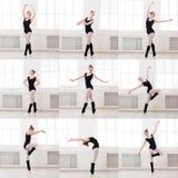Το σύνολο νέου ballerina που στέκεται στο μπαλέτο θέτει Στοκ Εικόνες