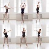 Το σύνολο νέου ballerina που στέκεται στο μπαλέτο θέτει Στοκ Εικόνα