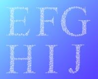 Το σύνολο νερού ρίχνει τα λατινικά γράμματα Ε, Φ, Γ, Χ, Ι, J αλφάβητου ελεύθερη απεικόνιση δικαιώματος