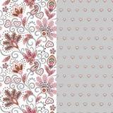 Το σύνολο οριζόντιου άνευ ραφής floral σχεδίου δύο με το Paisley και τη φαντασία ανθίζει τα σύνορα Συρμένη χέρι σύσταση για τα εν διανυσματική απεικόνιση