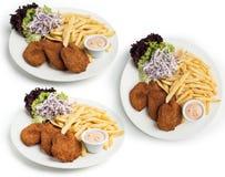 Το σύνολο πιάτου Escalope κοτόπουλου εξυπηρέτησε με Coleslaw, τα τηγανητά και την εμβύθιση που πυροβολήθηκαν στις διαφορετικές γω Στοκ Φωτογραφίες