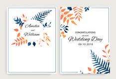 Το σύνολο προσκαλεί σχέδιο γαμήλιων το floral καρτών με το διανυσματικό ύφος φύλλων κλίσης r απεικόνιση αποθεμάτων