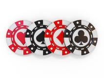 Το σύνολο πόκερ παιχνιδιού πελεκά, με το φτυάρι, το διαμάντι και τη λέσχη καρδιών Στοκ φωτογραφία με δικαίωμα ελεύθερης χρήσης