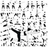 Το σύνολο σκιαγραφιών γυναικών στη διαφορετική ικανότητα θέτει Στοκ φωτογραφία με δικαίωμα ελεύθερης χρήσης