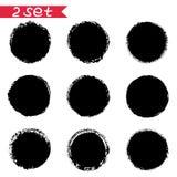 το σύνολο στρογγυλών μαύρων λεκέδων μελανιού αυτοκόλλητων ετικεττών απομονώνει στο άσπρο υπόβαθρο απεικόνιση αποθεμάτων