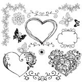 Το σύνολο συρμένων χέρι διακοσμητικών καρδιών, floral στοιχεία για σας Στοκ φωτογραφία με δικαίωμα ελεύθερης χρήσης