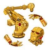 Το σύνολο συστατικών του ρομπότ γίνεται από το χρυσό πολύτιμων μετάλλων σχολική καθορισμένη τεχνολογία εικονιδίων εκπαίδευσης υψη διανυσματική απεικόνιση