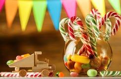 Το σύνολο της γλυκιάς καραμέλας Γλυκά για τα Χριστούγεννα Ασβέστιο χαιρετισμού Στοκ Εικόνες