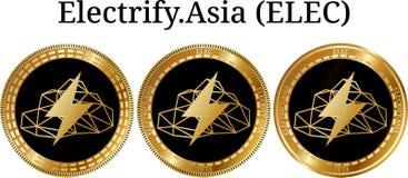 Το σύνολο φυσικού χρυσού νομίσματος ηλεκτρίζει Ασία ELEC απεικόνιση αποθεμάτων