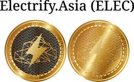 Το σύνολο φυσικού χρυσού νομίσματος ηλεκτρίζει Ασία ELEC διανυσματική απεικόνιση