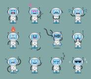 Το σύνολο χαριτωμένου χαρακτήρα ρομπότ σε διαφορετικό θέτει και με τις διάφορες συγκινήσεις Στοκ φωτογραφίες με δικαίωμα ελεύθερης χρήσης