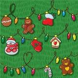 Το σύνολο χεριού διακοσμήσεων Χριστουγέννων σύρει με το σχέδιο στοκ εικόνες