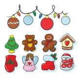 Το σύνολο χεριού διακοσμήσεων Χριστουγέννων σύρει στοκ εικόνες