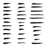 Το σύνολο χεριού επεξεργάστηκε τις βούρτσες ξυλάνθρακα συνήθειας, συλλογή συρμένων των χέρι διανυσματικών στοιχείων απεικόνιση αποθεμάτων