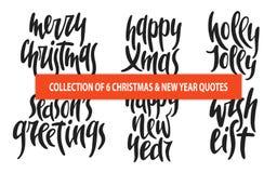 Το σύνολο Χριστουγέννων 6 και η νέα διανυσματική συρμένη χέρι μοναδική τυπογραφία έτους σχεδιάζουν τα στοιχεία για τις αφίσες, ευ Στοκ φωτογραφία με δικαίωμα ελεύθερης χρήσης