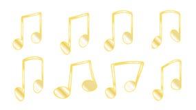 Το σύνολο 8 χρυσών κίτρινων πλευρών ή πλεξίματος, λιπαρές γραμμές που συνδέουν τις μουσικές νότες κατά την ομαδοποίηση των σημειώ ελεύθερη απεικόνιση δικαιώματος