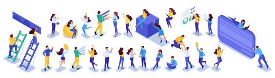 Το σύνολο Isometric εφήβων, κοινωνική δικτύωση, αναθεωρεί, συμπαθεί, μηνύματα Για τον ιστοχώρο και το κινητό σχέδιο εφαρμογής διανυσματική απεικόνιση