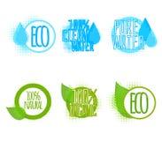 Το σύνολο έξι καθαρίζει τις ετικέτες νερού και οικολογίας Στοκ εικόνα με δικαίωμα ελεύθερης χρήσης