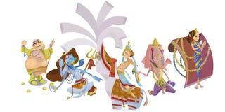 Το σύνολο απομονωμένης ινδικής περισυλλογής Θεών στη γιόγκα θέτει τη θρησκεία hinduism λωτού και θεών, παραδοσιακός ασιατικός πολ διανυσματική απεικόνιση