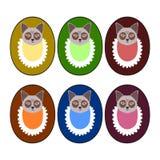 Το σύνολο βαθιών χρωμάτων - κεφάλια κουταβιών με τους τους ετερόφθαλμους γάδους - σχεδιάζει για το χαρακτηρισμό αγαθών Στοκ Φωτογραφία