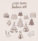 Το σύνολο βορειοαμερικανικών ινδικών σπιτιών tipi με τη φυλετική διακόσμηση δίνει συμένος με το μελάνι, στοιχεία του δάσους και τ Στοκ Εικόνες
