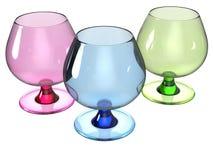 Το σύνολο γυαλιού δίνει στο ροζ, μπλε και πράσινος Στοκ Εικόνα