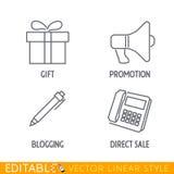 Το σύνολο εικονιδίων μάρκετινγκ περιλαμβάνει megaphone προώθησης κιβωτίων δώρων γράφει blog και τηλέφωνο την άμεση πώληση Στοκ Εικόνες